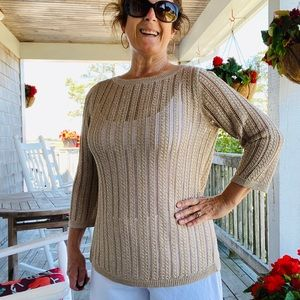 Talbots gold crew neck sweater